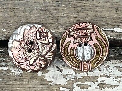 Antique hand carved Victorian mother of pearl buttons