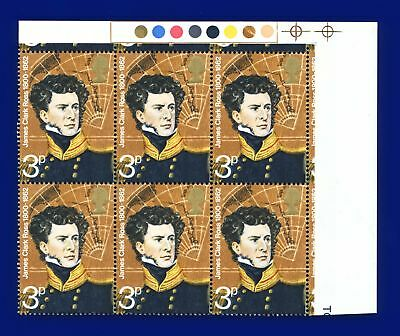 1972 SG897 3p Polar Explorers Traffic Light Block (6) MNH Unmounted Mint aona