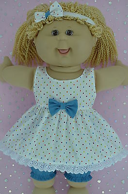 "Play n Wear Doll Clothes For 16"" Cabbage Patch POLKA DOT DRESS~BLOOMERS~HEADBAND"