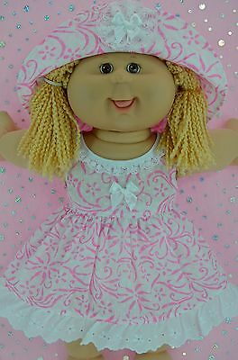 "Play n Wear Doll Clothes To Fit 16"" Cabbage Patch WHITE/PINK FLOWER DRESS~HAT"