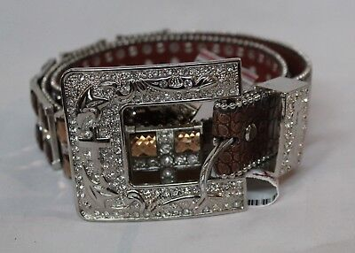 Western Belt BLAZIN ROXX Brown Croc Print  Large Sq Crystals, #N351402 Clearance