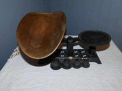 Large Vintage  Hand Painted Cast Iron Balance Scale w/ Weights and Aluminum Pan