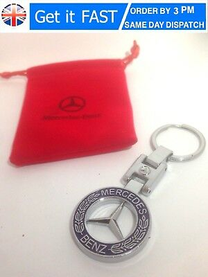 Mercedes Benz Chrome Keyring With Blue Laurel Emblem