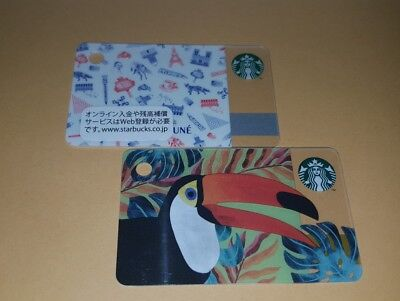 Japan PARIS KITSUNE and FRANCE TOUCAN mini Starbucks CARD