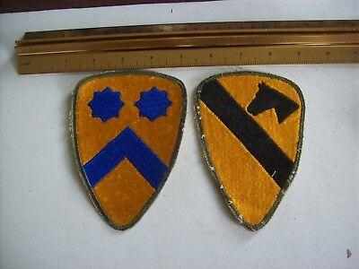 military patch lot; 1st and 2nd Cavalry Division, WW2