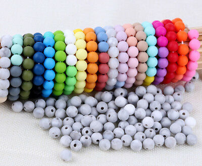 20Pcs Silicone BPA Free Teething Beads DIY Baby Chew Jewelry Teether Making 15mm