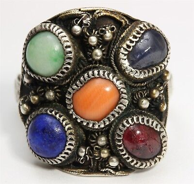 Antique Chinese Victorian Art Deco Sterling Silver Multi Gemstone Cluster Ring