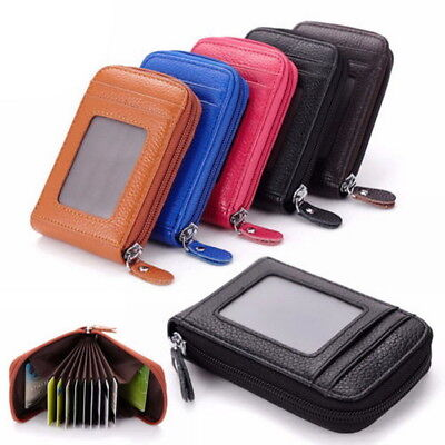 Men Wallet Credit Card Holder Genuine Leather RFID Blocking Zipper Pocket Thin