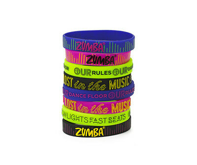 Zumba ~ Lost In The Music Rubber Bracelets -- 8 Pack! ~ New! Free Shipping!