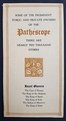 Brochure on Prominent Owners of the Pathescope - First 9.5mm Film Projector