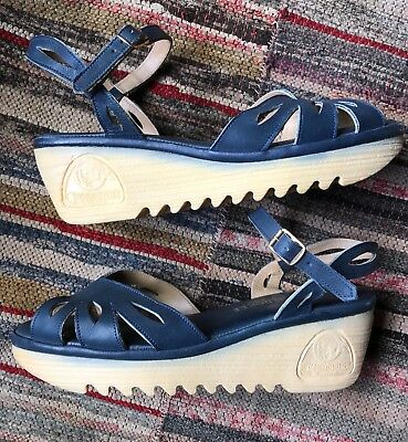 Women's Vintage 70's Cherokee BLUE Leather Wedge Sandals Shoes 8