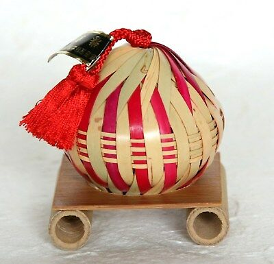 Japanese Vintage Bamboo Bell Woven Folk Craft Hand Made with Stand