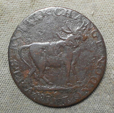 Great Britain ND halfpenny, D&H Middlesex-455, London, Pidcock's Two Headed Cow