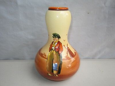 Rare Falcon Ware England Hand Painted 1930s Gourd Vase Shape 206 - Dutch Scene