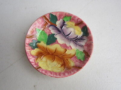 Maling England Tube Lined 1930s Lotus Flower Pin Dish ~ Rare Pink Background