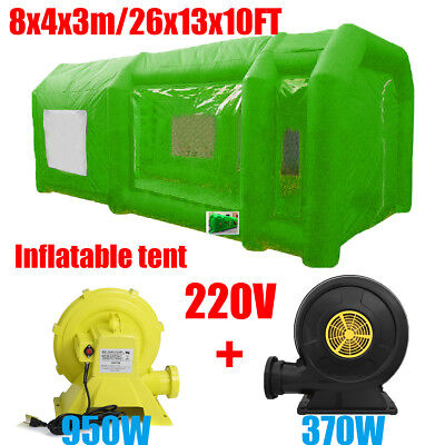8M Green Portable Giant Cloth Inflatable Tent Workstation Spray Paint + 2 Blower