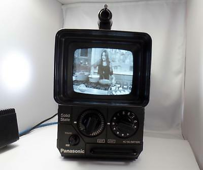 Vintage 1978 Panasonic TR-555 Black / White Portable Analog TV Television Works