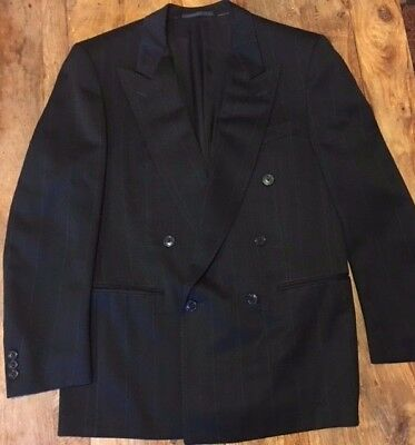 Ermenegildo Zegna Mens 2 pc Dble Breast Suit Black with fine stripe Merino 48