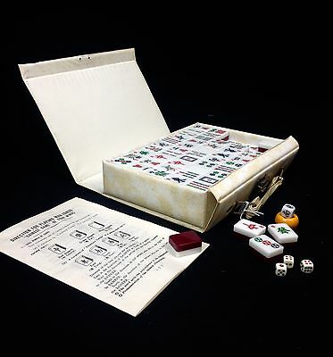 Vintage Mahjong Set In Case Chinese Oriental Game Cream And white