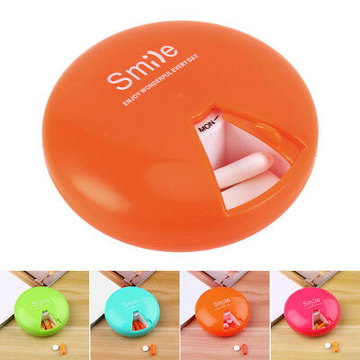 Weekly Daily 7 Day Round Pill Box Storage Dispenser Organisers Tablets Case