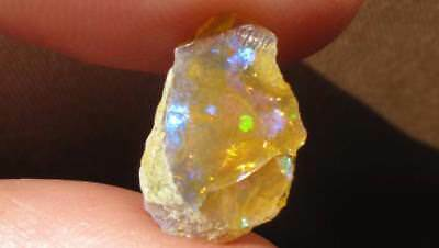 Natural Orange Toned Welo Opal 4cts Rough With Lovely Patches Green Violet Blue