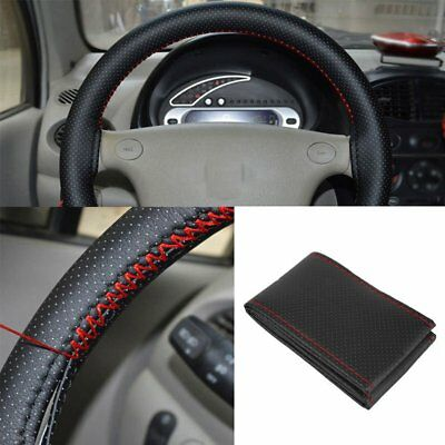 Black+Red PU Leather DIY Car Steering Wheel Cover 38cm With Needles and Thread
