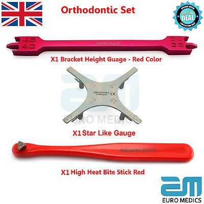 Set Of 3 Red Bracket Height Gauge and Red Bite Stick Star Gauge Ortho Lab Tools
