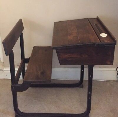 Vintage wooden children's school  desk and chair (with opening lid and inkwell)