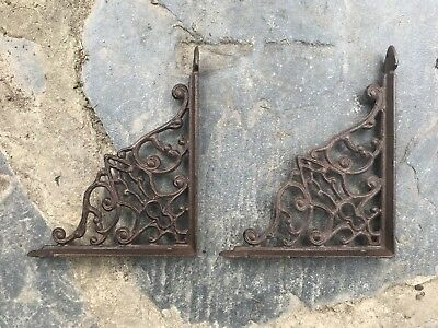 2 Cast Iron Antique Style Brackets Garden Braces Rustic Shelf Bracket