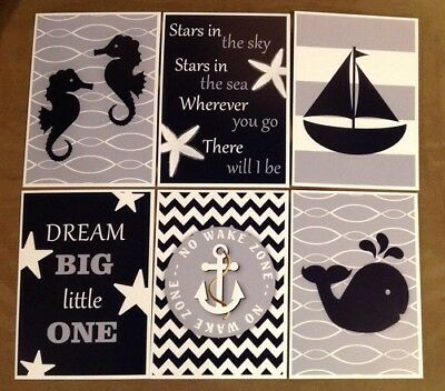 Nautical Nursery Art 5x7 Prints Sailboat Whale Seahorse Glossy Anchor Baby Lot 6