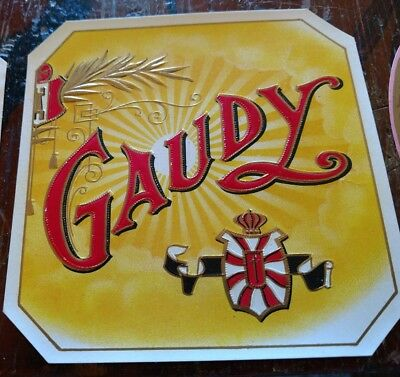 GAUDY outer Cigar Box Label 1920s EMBOSSED