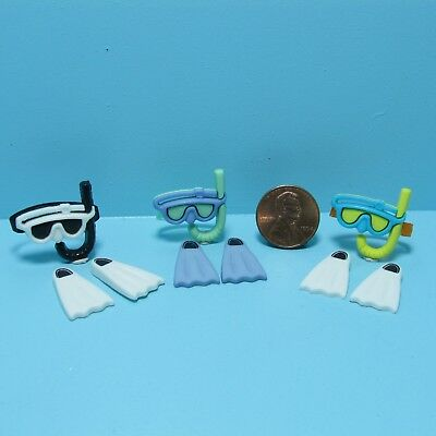 Dollhouse Miniature Snorkel Mask with Swimming Fins Set ~ CAR1373