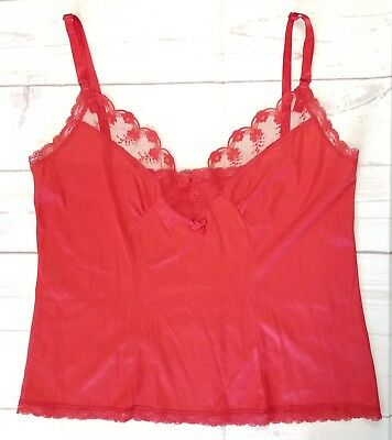 Hanna Size 38 Red Lace Trim Camisole Adjustable Straps Lingerie Silky Nylon