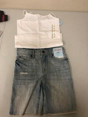 Cat & Jack Girl's Skinny Capris Pants and White Cami Size 7 NWT