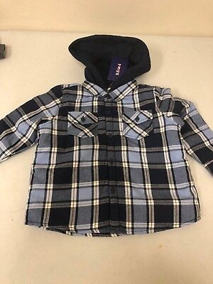 MOMOLAND Boys Long Sleeve Fleece Lined Flannel Shirt Jacket with Hood Size 2