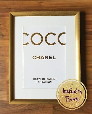 **Real Foil** *FRAMED* Gold Metallic Coco Chanel Print Wall Art Poster Fashion