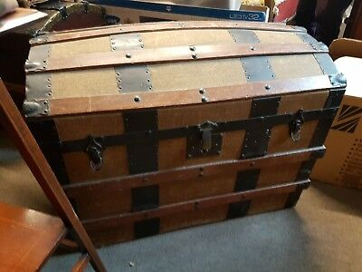 Large antique Vintage STEAMER TRAVEL TRUNK 19th Century DOME TOP STORAGE CHEST