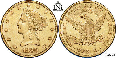 iNi  USA, $10, Liberty Head, Eagle, 1880, Gold, SS+