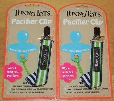 Tunno Tots Baby/Infant Pacifier Clip/Holder Set of 2 Black w/Green White Stripes