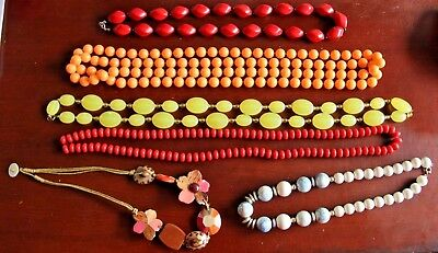 LOT Of Vintage Estate Costume Jewelry Necklaces Red Yellow Orange White N1
