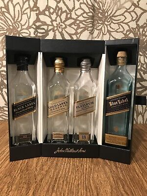 Johnnie Walker Collection Whiskey Glass 4 200ml EMPTY Bottles Man Cave Display