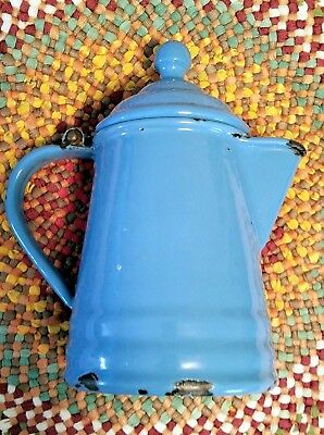 Vintage Graniteware Enamelware Tiny Blue 2 Cup Teapot /coffee Pot