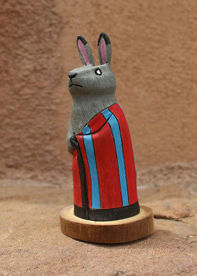 NAVAJO FOLK ARE-BUNNY IN STRIPED BLANKET by RAY & ORLEEN LANSING-NATIVE AMERICAN