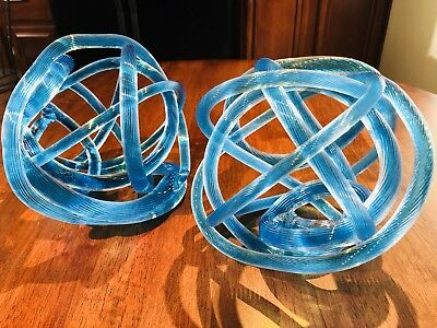 Vintage Rare Pair Of Artisan Tube Hand-formed Glass Sculptures-Mint