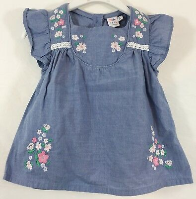 BOWS & ARROWS Baby Girls Blouse Top 18-24 Months Sky Blue Floral & Button Up