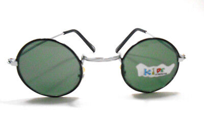 John Lennon Style Round Black Silver with Green Lens Sunglassses FOR BABY