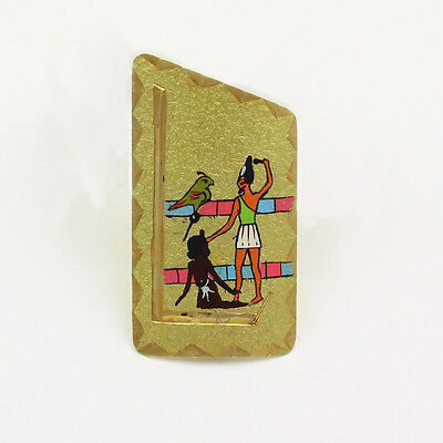 Collectible Vintage 18k Yellow Gold Hand Painted Egyptian King Horus Narmer Pin