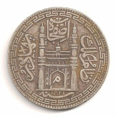 India Silver Rupee Hyderabad State Yeo.:#40.1 Ah1321 (Year 38) Fine+
