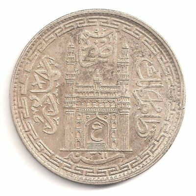 India Silver Rupee Hyderabad State Yeo.:#63 Ah1361 (Year 32) Ex.fine