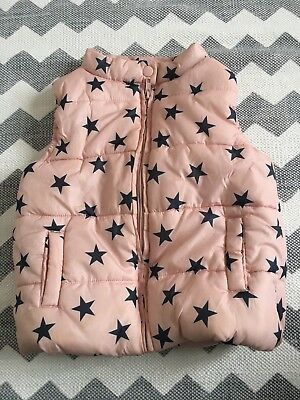 Girls Puffer Vest Pink with Blue Stars Size 4, $1 NR